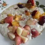 Healthy breakfast - milk porridge with fruits