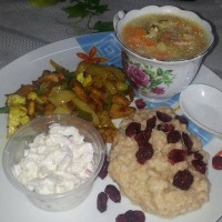 oatmeal with dried fruit on breakfast
